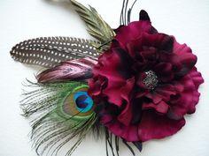 Carmina Hair Clip - with Peacock feather - Tribal Fusion Bellydance Fae Faery Wedding Boho Gypsy. £13.50, via Etsy.
