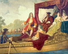 Edouard Jean Conrad Hamman,  George Frideric Handel (left) and King George I on the River Thames, 17 July 1717, c. mid-19th century