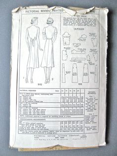 UNcut 1930s Pictorial Review Printed pattern 9145 by Fancywork