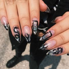 Black Acrylic Nails, Best Acrylic Nails, Summer Acrylic Nails, Soft Nails, Aycrlic Nails, Manicure, Nagel Tattoo, Mens Nails, Grunge Nails
