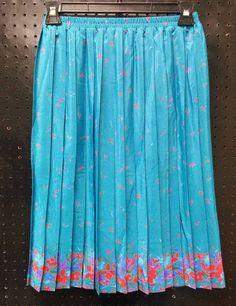 Leslie Fay Petite Small Teal Pleated Floral  Trim Skirt Dressy B261 #LeslieFay #Career