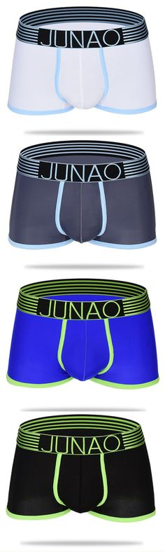 Sexy Ice Silk Patchwork Thin U Convex Semless Breathable Transparent Boxers Underewear for Men