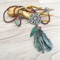 Long Tassel Necklace Boho Beaded Necklace Painted by GypsyIntent