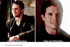 """"""" I have one of those faces """" ~~ #AmellFaces #Arrow #TheFlash #StephenAmell #RobbieAmell"""