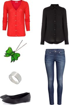 """[Requested by Anonymous] Outfit inspired by Kim Jae Joong in DBSK's """"Balloons"""" More Outfit on I Dress Kpop Get The Look: Red Cardigan Green Bow Necklace Simple Ring Black Flats Black Blouse Jeans"""