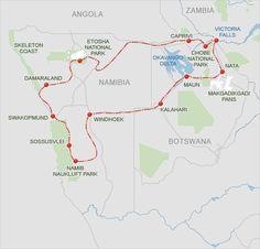 Route Map: Namibia, Botswana and Victoria Falls Self-drive Tour