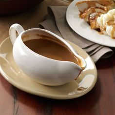 Foolproof Gravy Recipe from Taste of Home -- Use the drippings from your roasted turkey, and the gravy is done in just 20 minutes. —Edie DeSpain, Logan, Utah