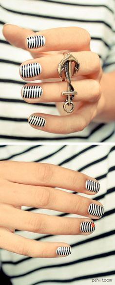 Black and white stripe nails. nail art. nail ideas. nail designs