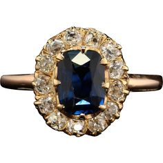 @rubylanecom Art Deco Rare NATURAL Sapphire and DIAMOND Cluster ring found at www.rubylane.com