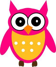 Cute Cartoon Owls | Pink Yellow Owl clip art - vector clip art online, royalty free ...