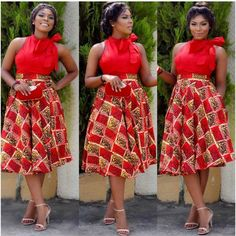 African fashion Ankara Dress In Red style African Dresses For Women, African Print Dresses, African Attire, African Wear, African Fashion Dresses, African Women, African Prints, African Style, Ankara Fashion