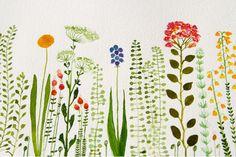 Garden original watercolor SALE by zuhalkanar on Etsy