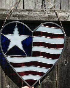 American flag Heart shape Star Red White Blue patriotic Stained Glass NEW USA | eBay