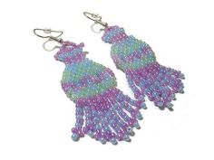 Green Blue Purple Pastel Beadwork Fringe Earrings by SharkysWaters, $18.00