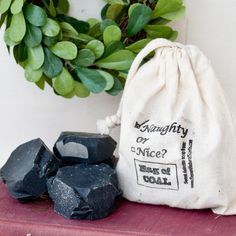 Totally need to get this for the kids for Christmas as a gag gift. Bag of Coal SOAP naughty or nice stocking stuffer.