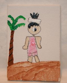 Cave Girl in Glittery PInk with Bone in her Hair by kitncatherine, $4.00
