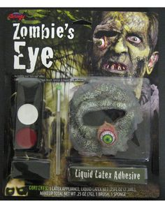 See how well your onlookers can stomach your rotting appearance when you use this Rotten Zombie Eyeball and Socket makeup kit to complete your horrifying zombie costume!