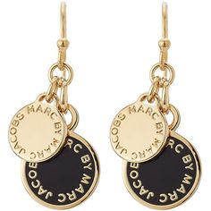 Marc by Marc Jacobs Logo Charm Earrings ($55) ❤ liked on Polyvore featuring jewelry, earrings, accessories, black, yellow gold earrings, yellow gold charms, black gold jewelry, charm earrings and black gold earrings