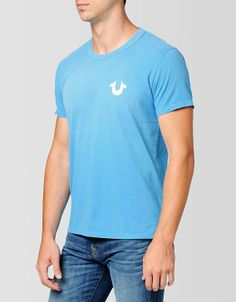 Embrace color this season with True Religions signature tee in bright bright turquoise blue. A classic crew neck shirt is perfect for everyday style... #TRholiday13