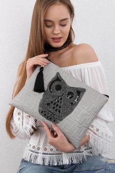 Kadın Gri Vegan Dev Owl Aplikeli Clutch