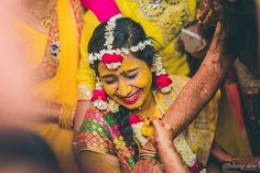 The haldi ceremony is an important pre-wedding ritual. Big Indian Wedding, Haldi Ceremony, Wedding Rituals, Candid, Wedding Photography, Memories, Colour, Beautiful, Brides