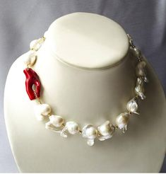 Baroque pearls necklace with coral Ocean Heart. Coral Jewelry, Bling Jewelry, Beaded Jewelry, Jewelry Necklaces, Beaded Necklace, Unique Jewelry, Jewellery, Bold Necklace, Baroque Pearl Necklace