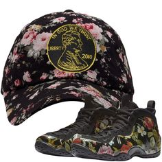 e46274a90ad65 Air Foamposite One Floral Sneaker Matching Penny Black Floral Dad Hat
