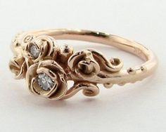 Pretty gold rose ring...pinned by ♥ wootandhammy.com, thoughtful jewelry.