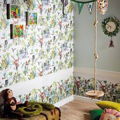 This fun, jungle themed wallpaper is perfect for adding colour and fun to a child's bedroom. Arthouse wallpaper is available at Go Wallpaper UK.