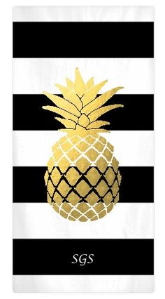 New to SassySouthernGals on Etsy: Pineapple Monogram Beach Towel Personalized Beach Towel Black White & Gold Beach Towel Monogrammed Gift (55.00 USD)