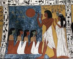 TT-1 Tomb of Sennedjem. Sennedjem was an artisan of ancient Egypt who worked in the necropolis of the valley of the kings during the nineteenth dynasty, in the service of the farones seti I and his son, Rameses II. In this painting shows him worshipping the gods with his wife inyferti.