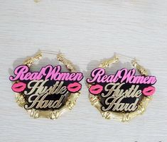 Real Women Hustle Hard With Pink Lips Exaggerate Stage Girl Name Customized Stud Earrings Heart Locket Necklace, Luxury Jewelry, Diy Jewellery, Hustle Hard, Jewel Box, Pink Lips, Indie Brands, Real Women, Bling