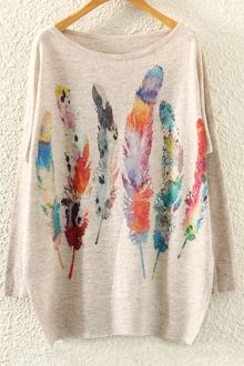 Feather Print Long Sleeve Jumper