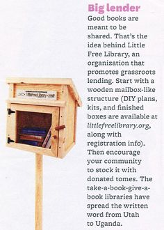 Little Free Library. My goal for before I Graduate! 2 Little Free libraries!