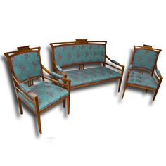 Sofa + armchairs Of the period: Art Nouveau Date of manufacture: 1900 Material: solid wood Professionally restored and new upholstery. Price per set.