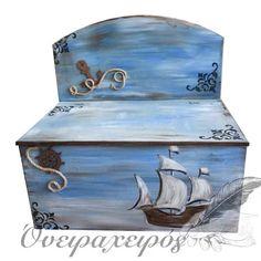 """Vintage ΚΑΡΑΒΙ"" σετ βάπτισης με ξύλινο παγκάκι ζωγραφισμένο στο χέρι Toy Chest, Decorative Boxes, Vintage, Toys, Storage, Furniture, Home Decor, Activity Toys, Purse Storage"