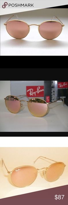 Genuine Ray-Ban round metal pink/copper flash lens B R A N D  N E W  ~  1 0 0 %  AUTHENTIC  R E G U L A R  P R I C E :  $ 1 7 0    Brand new, authentic Ray-Ban sunglasses,   come with original box, case and cleaning cloth.    Model: RB3447 112/Z2  Frame Color: Gold  Lens Color: Brown Mirror Pink    Style: Round  Frame material: Metal  Lens material: Crystal Ray-Ban Accessories Sunglasses