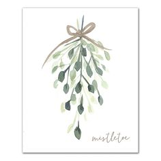 The Designs Direct Watercolor Mistletoe Canvas Wall Art features a romantic deplication of a holiday favorite. Tied with a gold bow, soft green hues of the mistletoe complete your holiday decor. Comes ready to hang with the included 2 hooks. Painted Christmas Cards, Watercolor Christmas Cards, Diy Christmas Cards, Watercolor Cards, Xmas Cards, Watercolor Flowers, Christmas Crafts, Christmas Card Designs, Christmas Cards Drawing