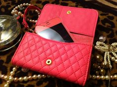 Luxury Elegant leather quilted wallet for iPhone by hEllOoPiNk, $35.00