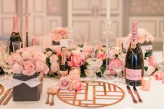 Luxurious pink, white and gold wedding table design ideas