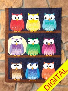"""cute colorful owl quilt, """"the branch bunch digital quilt pattern"""", from the quilt & sew shop site"""