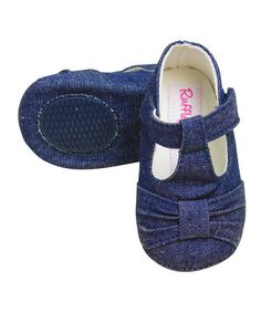 Another great find on #zulily! Blue Sweet Denim T-Strap Shoe by RuffleButts #zulilyfinds