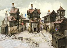 Town Picture  (2d, medieval, architecture) http://digital-art-gallery.com/picture/big/19201 ★ || CHARACTER DESIGN REFERENCES | キャラクターデザイン  • Find more artworks at https://www.facebook.com/CharacterDesignReferences & http://www.pinterest.com/characterdesigh and learn how to draw: #concept #art #animation #anime #comics || ★