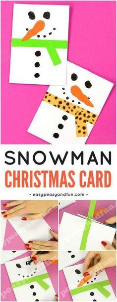 DIY Snowman Christmas Card Idea for Kids to Make. Fun Christmas Paper Craft for Kids. #Christmascraftforkids #DIYChristmascardideas #papercraftsforkids