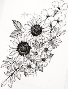 Sunflower Tattoos, Flower Thigh Tattoos, Back Thigh Tattoo, Floral Hip Tattoo, Arm Tattoo, Sunflower Tattoo Design, Floral Tattoo Design, Underboob Tattoo, Sunflower Tattoo Sleeve