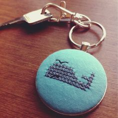 Blowhole. Old school pixelated cross stitch whale keychain. #oldschoolwares