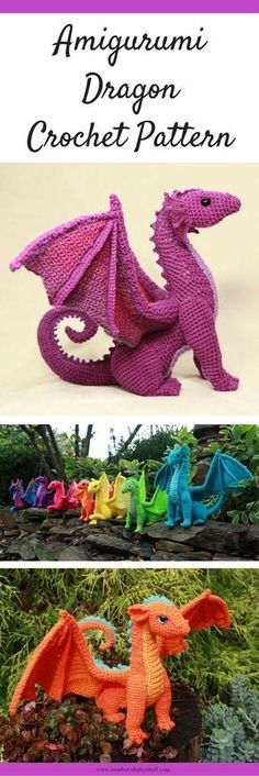 Baby knitting pattern dragon amigurumi crochet pattern to print. Baby knitting pattern dragon amigurumi crochet pattern to print. Crochet Diy, Crochet Crafts, Crochet Projects, Crochet Ideas, Crochet Food, Diy Crafts, Crochet Animal Amigurumi, Amigurumi Patterns, Crochet Dolls