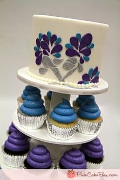 Blue, Silver & Purple wedidng cake - peacock wedding cake