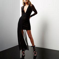 Black mesh hem plunge dress