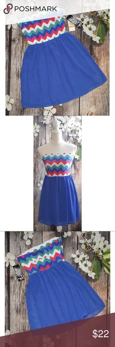 🎉NWT! Sequin Hearts by Michelle Chevron Minidress Brand NEW with tags! ☀️Perfect for Spring & Summer!!  Sequin Hearts by Michelle Chevron Strapless Minidress   *Tube-style top in chevron print  *Chiffon-style, flow bottom in royal blue  *Size SMALL  Please ask any questions you have have!  All items are from a smoke & pet free home.  🛍Please check out my closet! BUNDLE & SAVE! Thanks all and Happy Poshing!🛍 Sequin Hearts Dresses Mini